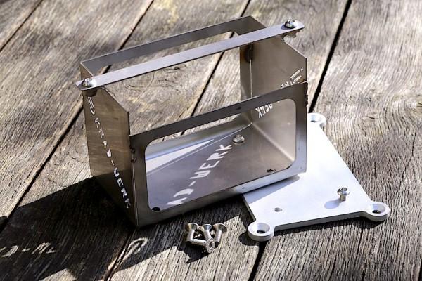 Batteriekasten Edelstahl schwarzmatt für BMW K 75, K 100, K 1100 für leichte Lithium-Ionen-Batterie