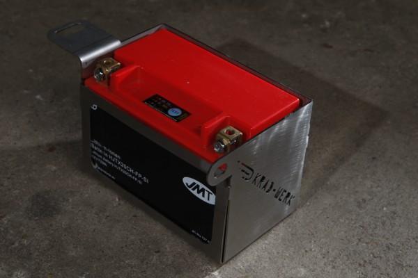 Lithium-Ionen Batterie plus Batteriekasten Edelstahl
